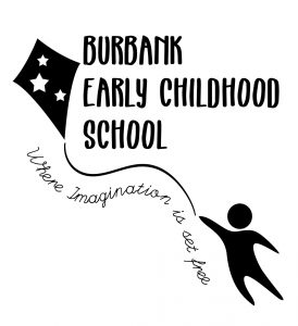 "Burbank Early Childhood School logo. Black text on white background. A kite with words ""Where imagination is set free."""