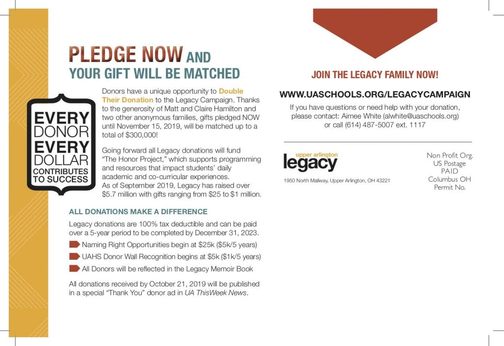Pledge now at uaschools.org/legacycampaign or call 614-487-5007 extension 1117 for help and questions